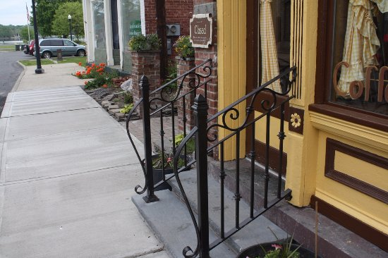 Coxsackie, NY: Our entrance with steps, sidewalk, and metal railings.
