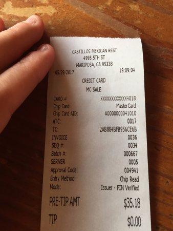 Castillo's Mexican Food: Rechnung