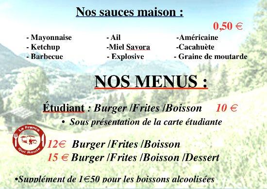 Douvaine, Prancis: sauces et menus
