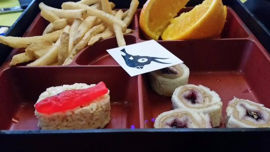 Burger Bar PBJ Rolls In Bento Box Complete With Cowfish Temp Tattoo