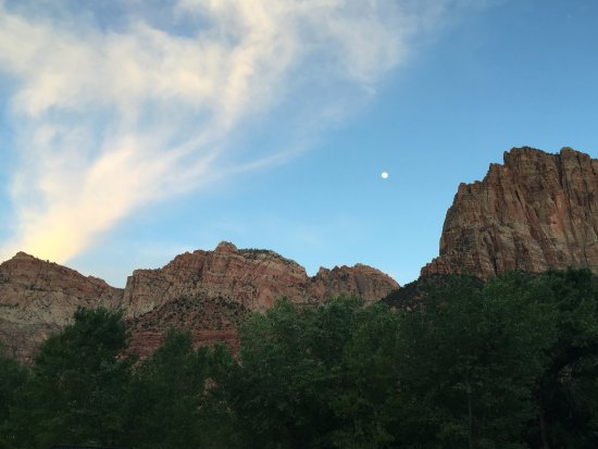 Watchman Campground: Moon over campground