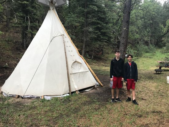 Mayhill, NM: boys outside the tipi