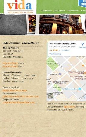 Vida Restaurant Charlotte Menu
