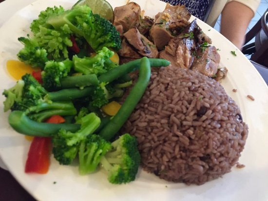 Cuban Roast Pork with Red-bean rice and mixed vegetables - Picture ...
