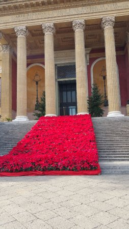 Teatro Massimo: Just the flowers on the front steps