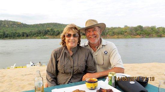 Chewore Safari Area, Zimbabwe: Happiness dining on a sandbank on the Zambezi