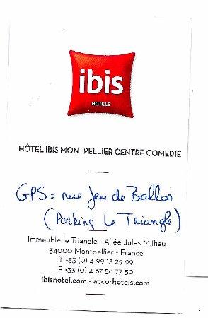 Ibis Montpellier Centre Comedie Carte De Visite