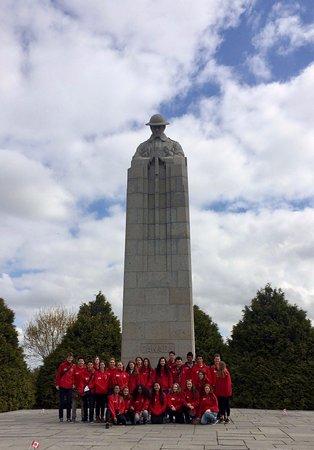 Our students at the St. Julien Memorial, one of their stops with Salient Tours - Credit: Hanna S