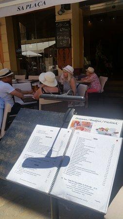 Menu Kort Picture Of Sa Placa Restaurante Alcudia Tripadvisor