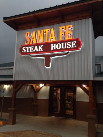 Giddings, TX: entrance to Santa Fe Steakhouse