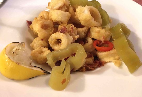 Bristol, RI: fried calamari with pickled hot peppers and tomato chutney