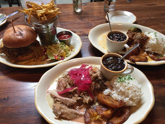 Habana Restaurant and Bar : From left to right: Mango BBQ Pork Sandwich, Lechon Asado, and Ropa Vieja