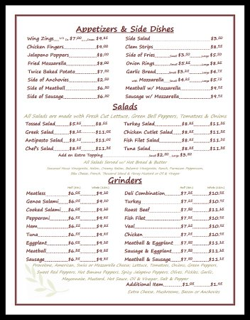 Terryville, CT: Menu Page 1