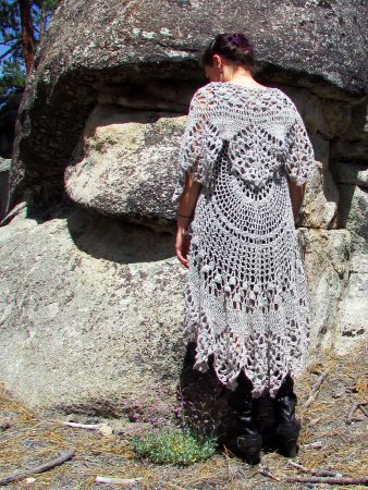 Big Bear City, CA: Circular Lacey crocheted vest
