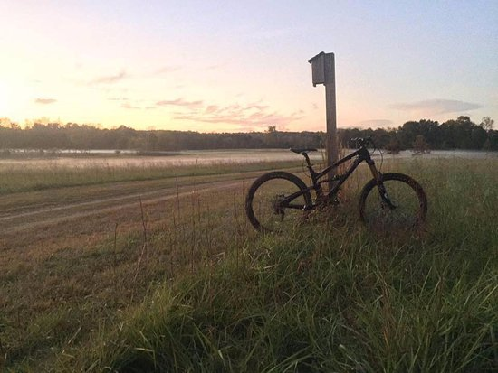 Acworth, Джорджия: Open fields lead to 26+ miles of single track trails.