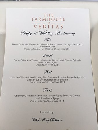 The Farmhouse at Veritas: Special menu for our anniversary :)