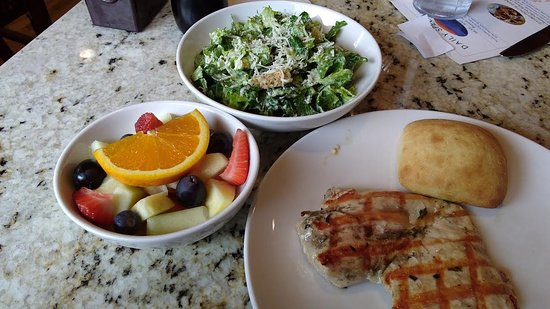 West Jefferson, NC: Grilled chicken with fresh fruit and Caesar salad.