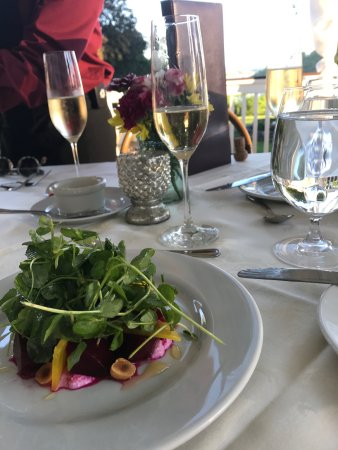 Cortlandt Manor, NY: Monteverde at Oldstone - Pickled beet salad with pea shoots and roasted hazelnuts