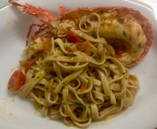 Fresh shrimp , Lobster with fresh tagliatelle  Ristorante Da Michele