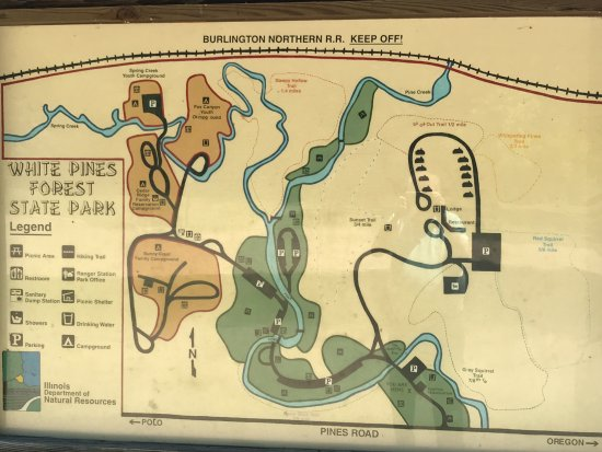 Mount Morris, IL: Map of the trails posted by the lodge