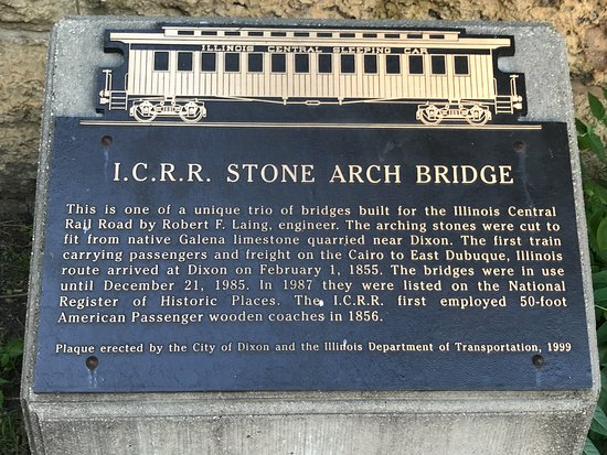Dixon, IL: Plaque near 2nd Street arch (train car at top is different)