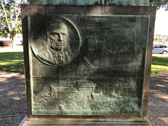 Dixon, IL: Old patina (green copper oxides) on plaque on back of Lincoln Statue