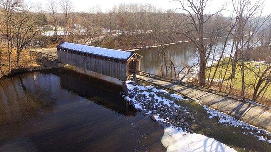 Lowell, MI: Drone view of the bridge