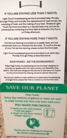 Staybridge Suites Chattanooga Downtown: Posted Eco Policy. Not followed, this stay.