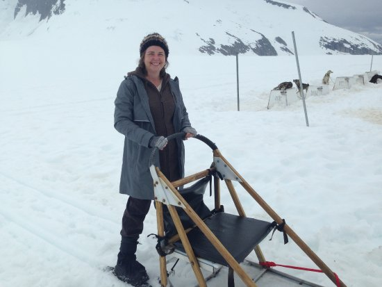 Temsco Helicopter Tours : On the back of the dog sled