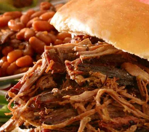 Clarion, PA: Double Smoked Pulled Pork on a sweet & buttery Brioche Bun, paired with our sweet baked beans.