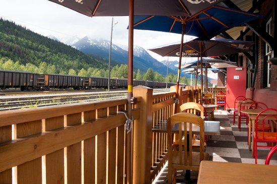 Trackside Cantina : Patio seating with a gorgeous view!