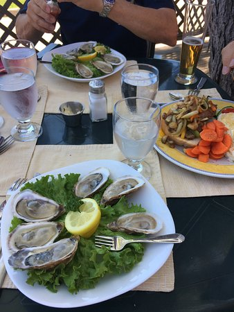 Montague, Canadá: Oysters were served with lemon, hot sauce or seafood sauce when requested. Steak sandwich was lo