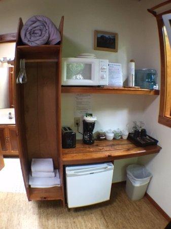 Volcano Inn: Corner Window Suite includes: Microwave, Toaster, Coffee Service & Mini-fridge