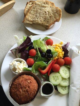 Cradley, UK: Scotch Egg salad with homemade bread