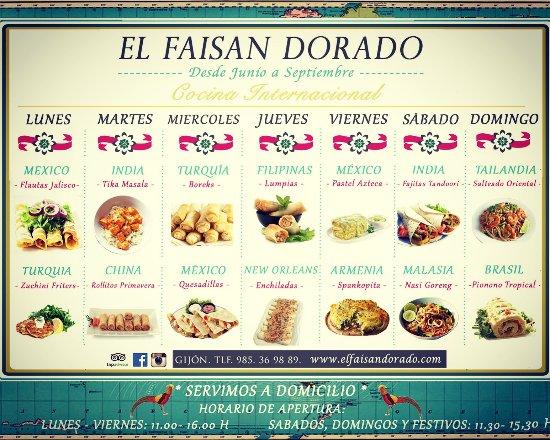 Foto de el faisan dorado gij n cocina internacional men for Cocina internacional madrid