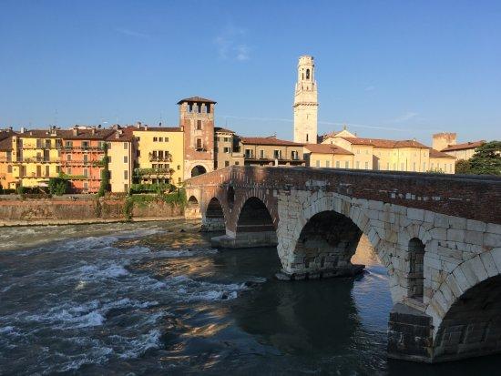 Ponte Pietra: view with Church tower