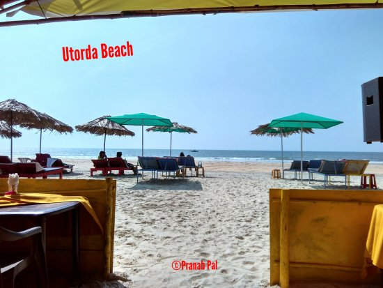 View of Utorda beach from inside the shack