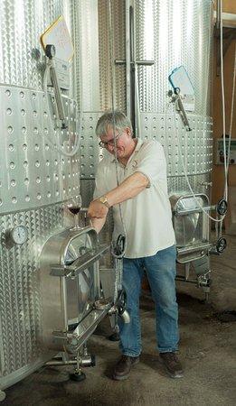 Villemoustaussou, France: Joe draws a sample from a fermentation tank