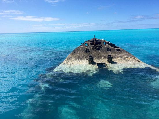 Hamilton, Bermuda: The bow of the Vixen wreck, where hundreds of fish wait for boats to stop by and feed them.