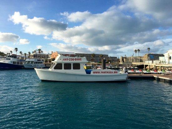 """Hamilton, Bermuda: Our Dive Boat """"Bubble Down"""" at it's berth in Dockyard."""