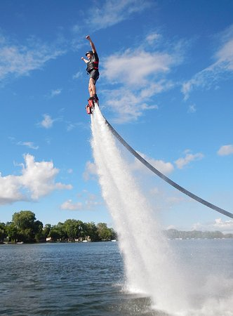Plymouth, MN: Mark's First time Flyboarding,