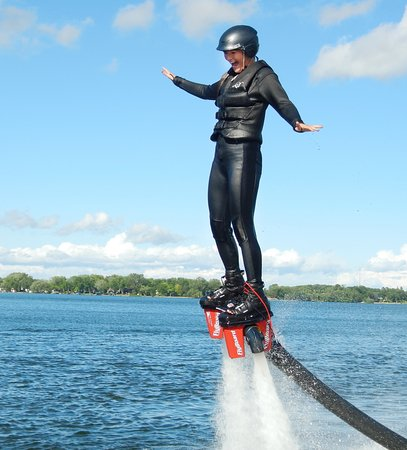 Plymouth, MN: Jackie's forst time Flyboarding!