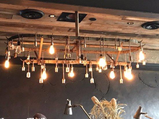 Cool light fixture over Gjelina's bar, food prep area