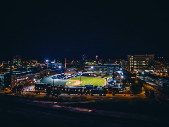 Durham Bulls Athletic Park lights up the Durham skyline