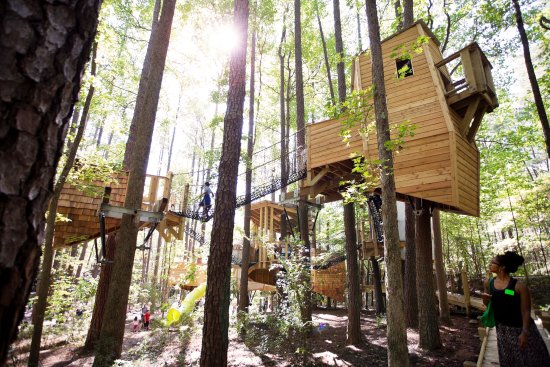 Durham, NC: Hideaway Woods outdoor environment and playscape at Museum of Life + Science