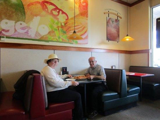 Somerset, MA: Louis and I at Papa Gino's.