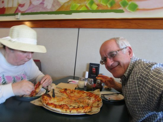 Somerset, MA: Louis and I eating our pizza.