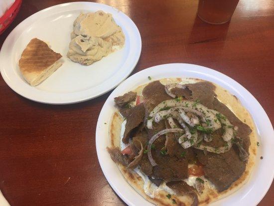 Yaffa Grill : Gyro sandwich and hummus.