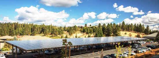 ‪‪Grass Valley‬, كاليفورنيا: Massive solar panel protects the parking lot and generates as much as 55% of Co-op power needs.‬
