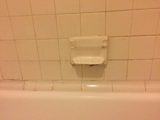 Days Inn by Wyndham Roanoke Civic Center: broken tile soap dish